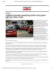 Cabbies threaten weeklong strike over green light for Uber, Grab _ Malaysia _ Malay Mail Online.pdf