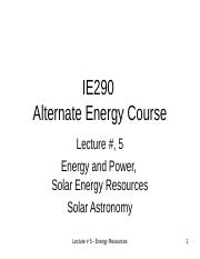 Lecture # 5 Solar Resource (2)