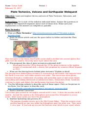 Plate Tectonics Volcano And Earthquake Webquest Name Torryn Todd