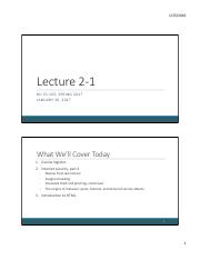 Lecture 2-1