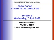 UCR SOC 005 STAT SPR 2010 Session 5 V1