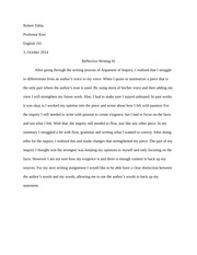 Argument of Inquiry Reflection Paper