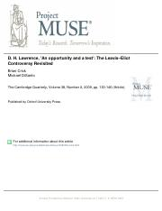 D.H. Lawrence_ An Opportunity and a Test--Crick