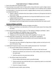 Study Guide for Exam 4—Religion and Society.docx