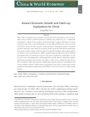 Lee (2016). KoreaΓÇÖs Economic Growth and Catch-up. Implications for China.pdf