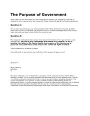 DISCUSSION The Purpose of Government