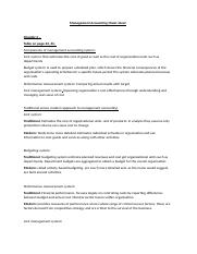 Management Accounting Cheat sheet