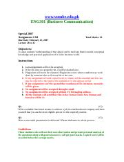 Business Communication - ENG301 Special 2007 Assignment 04.doc