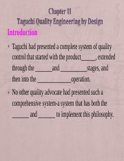 Ch 11 - Taguchi Quality Engineeringn By Design.ppt