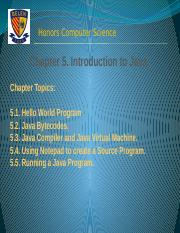 Chapter 5. Introduction to Java