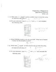 MATH110 Properties of Exponents