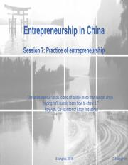 ES in China_Session7-Practice-of-entrepreneurship