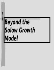 Beyond Solow Growth Model