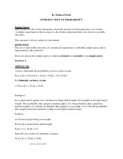 INTRODUCTION TO PROBABILITY& PROBABILTY DISTRIBUTION NOTES updated