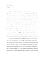 Theology Opinion Essay