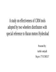 A study on effectiveness of CRM tools _ V KARTHIK.pptx