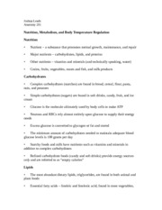 Nutrition, Metabolism, and Body Temperature Regulation Notes