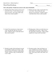 Word Problems 2013 - beginner both side variable equations ...