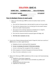 QUIZ #1, Ch. #2 ,3 ,4, 6 & Code of Ethics, May 27, 2013, With Solutions