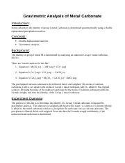 Lab-Gravimetric Analysis of Metal Carbonate.doc