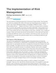The Implementation of Risk Management.docx