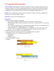 Lecture Notes on Computing with Fraction Bars