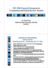 FIN 3300-31 - CONCLUSION AND FINAL REVIEW - Scott Fung (FALL 2011)(1)