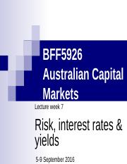 BFF5926 Lec 7 - Risk, Interest Rates  Yields S2
