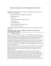 HCS 430 Week 4 Benchmark Assignmentí¬Laws and Regulations in Health Care.doc