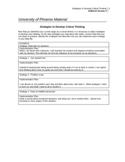 strategies to develop critical thinking matrix View homework help - strategies to develop critical thinking from hum 114 at university of phoenix will help me determine goal progress, gauge daily thinking, and gain further control of my values.