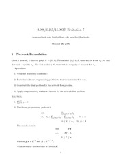 Network Formulation and Network Simplex Algorithm notes