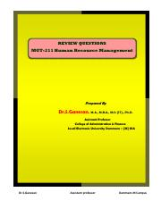 HRM MGT- [211] QUESTION BANK - REVIEW QUESTIONS MGT-211