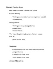 Strategic Planning Notes
