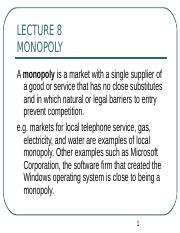Lecture 8 Monopoly