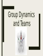 Group Dynamics and Teams