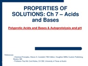 2010-03-01 - Polyprotic Acids and Bases & Autoprotolysis and pH