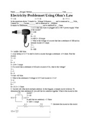 Electricity Problemset Using Ohm's Law