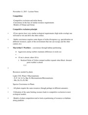 BIEB 126 Competition Class Notes