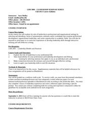LDR 3000 Fall 2013 Syllabus