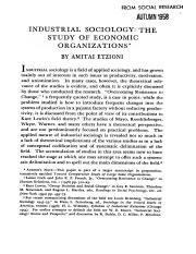 [DS 128] Industrial Sociology The Study of Economic Organizations - Etzioni, Amitai
