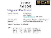EE 330 Lect 1 Spring 2011