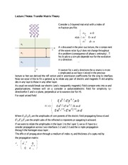 Lecture 7 Notes Transfer Matrix Theory