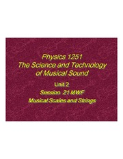 The Sciene and Technology of Music Sound - Musical Scales and Strings