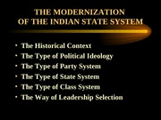 Modernization of the Indian State System