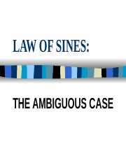 4.7 Law of Sines - Ambiguous Case ppt