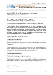 Mudhakkirah al-Hadeeth an-Nabawee of Shaykh Rabee- 9 - Three Things That Allaah is Pleased With...