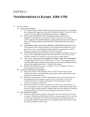 16 - Transformations in Europe, 1500 - 1750