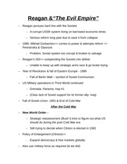Reagan And The Evil Empire Notes