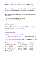 Lecture 3 Notes Biomaterials Surfaces Chemistry
