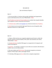 BUS ADM 350 Quizzes and Solutions Chapter 2